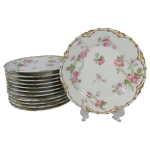 Haviland Roses Dessert Plates, S/12
