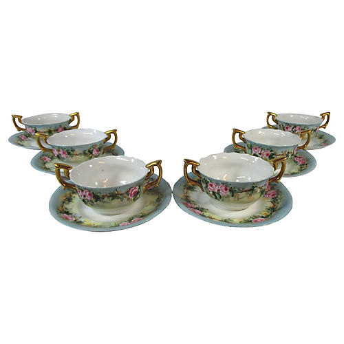 Limoges Hand-Painted Soup Bowls, S/6
