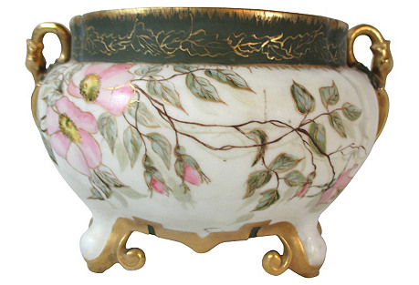 Limoges Hand-Painted Roses Jardinere