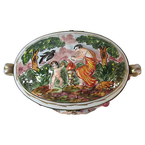 French Oval Raised Relief Vanity Box