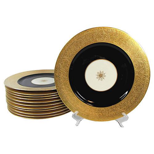 Embossed Gold & Black Dinner Plates,S/10
