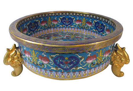 Chinese Cloisonne Dragon Footed Bowl
