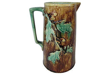 Majolica Oak Leaves & Acorns Pitcher