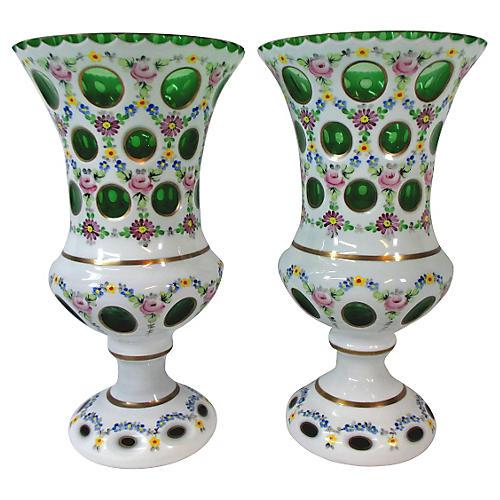 Bohemian Art Glass Vases, S/2