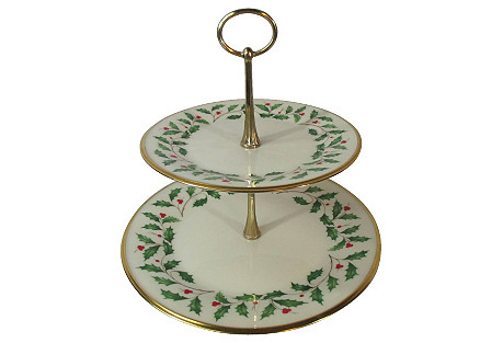 Lenox Holly Two-Tier Serving Tray