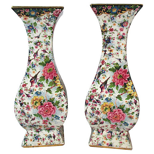 Tall Antique English Chintz Vases, Pair