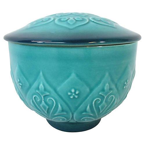 Doulton Turquoise Cathay Vanity Jar