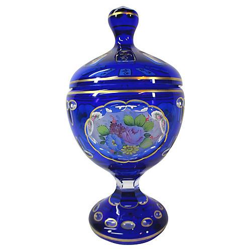 1960s Moser Cut-Glass Lidded Jar