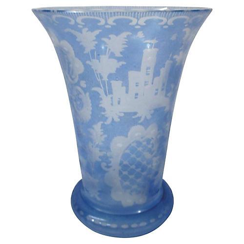 Ice Blue Bohemian Etched Vase