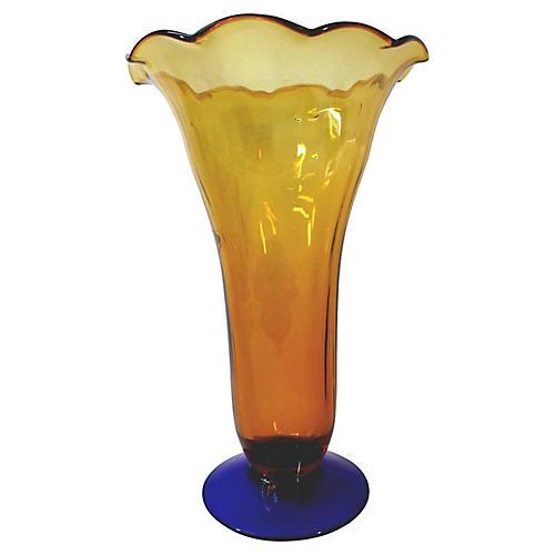 Blenko Handblown Two-Tone Vase
