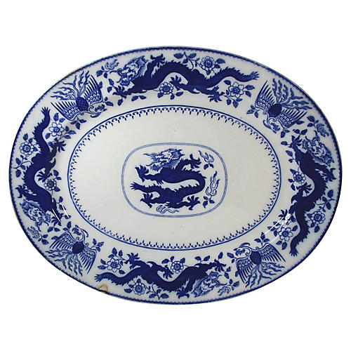 Antique Blue Dragon Platter