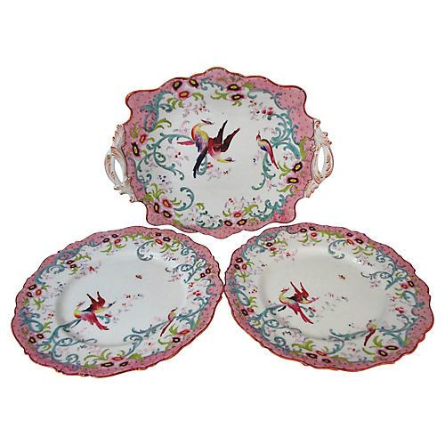 Hand-Painted Pink Serving Set, 3 Pcs