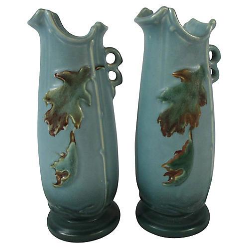 Weller Oak Leaves & Acorns Vases, Pair