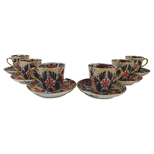 Imari Demi Cups and Saucers, S/6