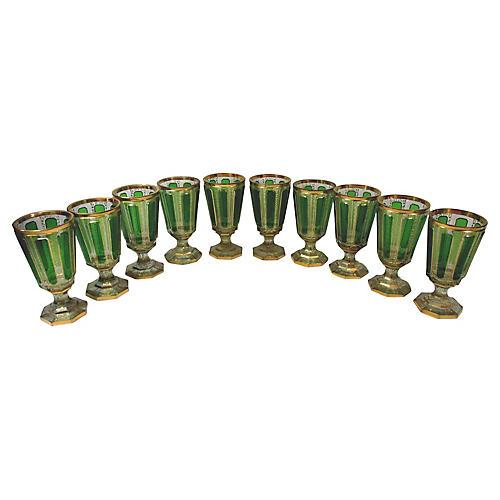 Moser Handblown Cut-Glass Goblets, S/10