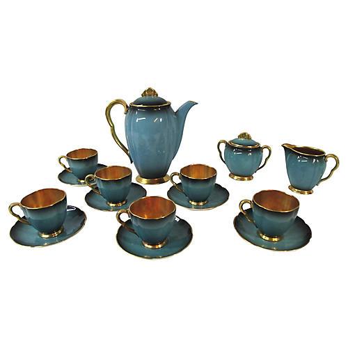 English Blue & Gold Tea Set, 15 Pcs