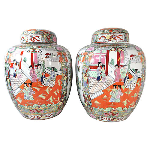 Large Chinese Famille Rose Urns, Pair