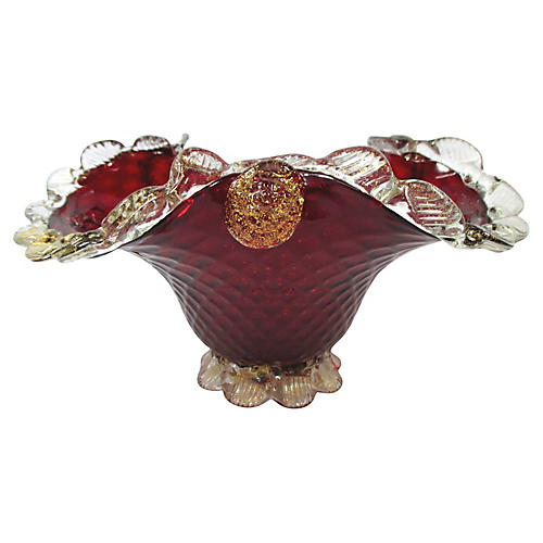 Murano Glass Red & Gold Bowl