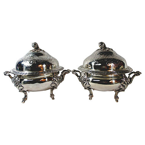 Silver-Plate Bud Finial Tureens, S/2