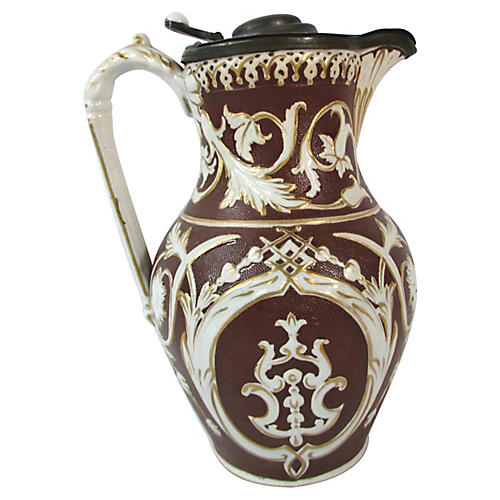 English Stoneware Pewter Lid Pitcher