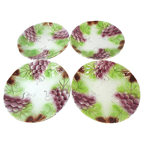 Majolica Grape Cluster Lunch Plates, S/4