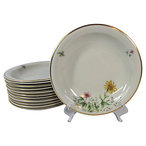 Mid Century Floral Bowls, S/12