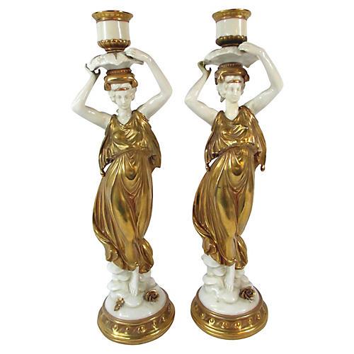 Dresden Figural Candlesticks, Pair