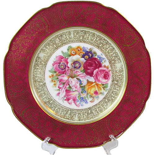 Dresden Floral Dinner Plates, S/4