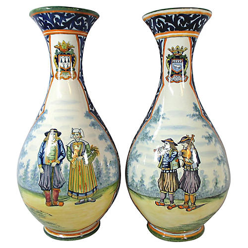 French Quimper Vases, Pair