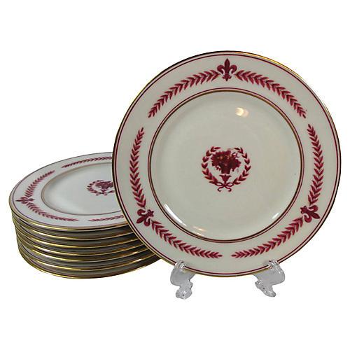 Magenta & Cream Dessert Plates, S/8