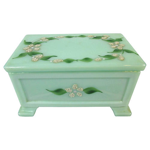 Jadeite Glass Vanity Box