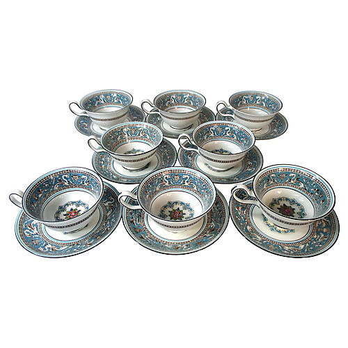 Wedgwood Florentine Cups & Saucers, S/8
