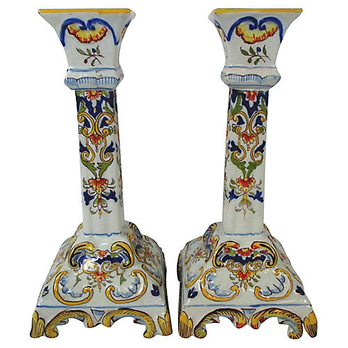 Antique French Faience Candlesticks, S/2