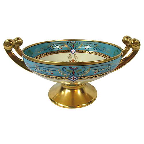 Hand-Painted Dresden Pedestal Bowl