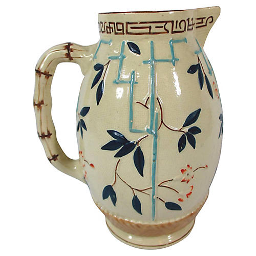 English Majolica Bamboo Pitcher