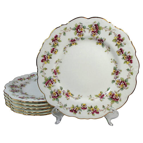 Pansy Flower Cauldon Lunch Plates, S/6