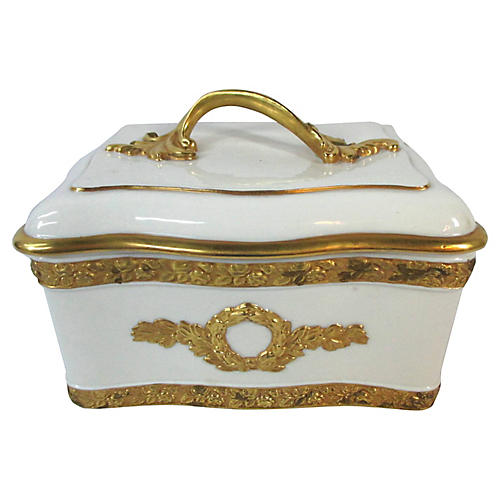 Mottahedeh Cream & Gold Trinket Box
