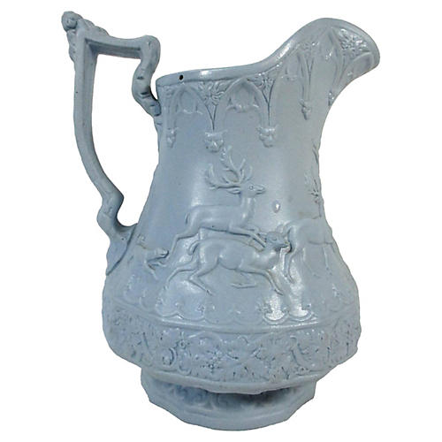 English Parian Stag Hunt Pitcher