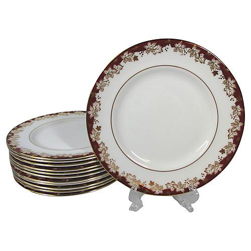 Doulton Rust & Gold Dessert Plates S/12