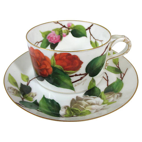 Hand-Painted Limoges Roses Cup & Saucer
