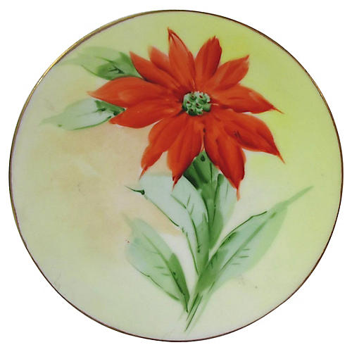 Limoges Hand-Painted Poinsettia Plate