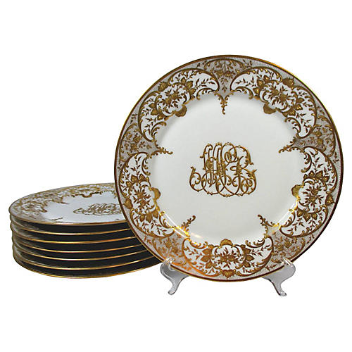 Gold Encrusted Limoges Plates, S/8