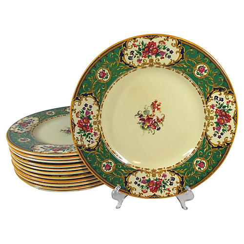 Staffordshire Floral Dinner Plates, S/12