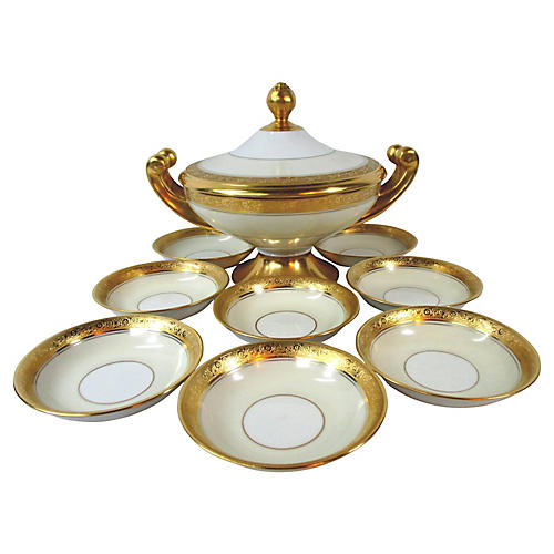 Porcelain Tureen & Bowls Serving Set S/9