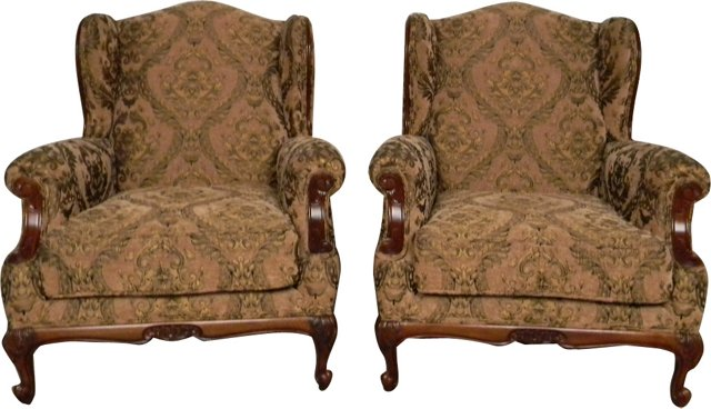 Wing Armchairs, Pair