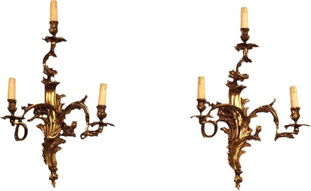 3-Arm Sconces, Pair