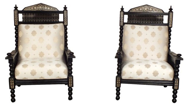 Syrian Armchairs, Pair