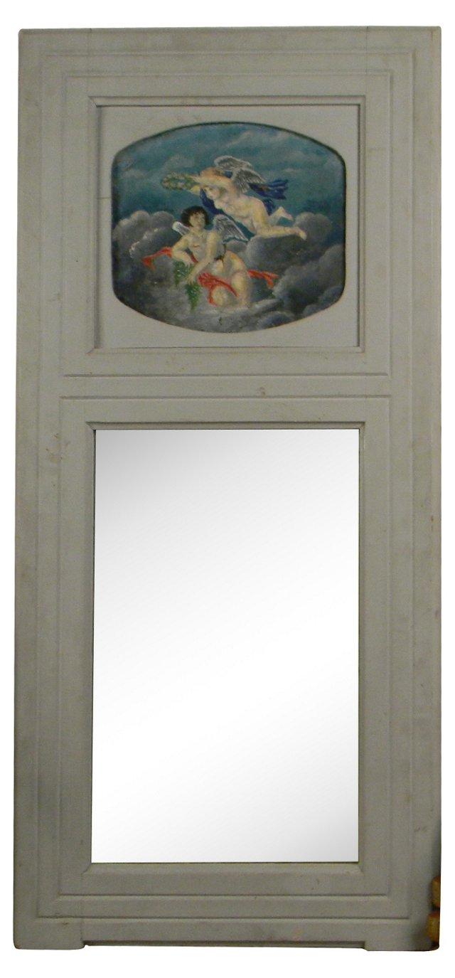 Pale Blue Trumeau Mirror