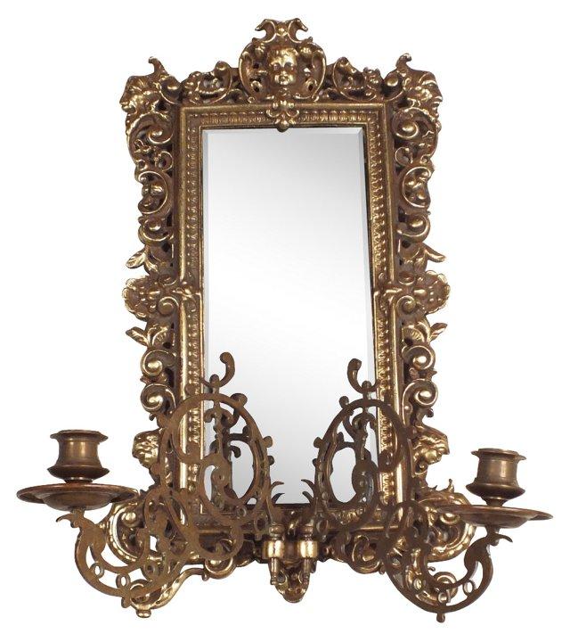 Wall Mirror w/ Sconces-L
