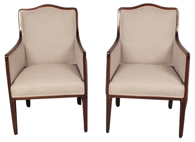 French Art Deco-Style  Armchairs, Pair